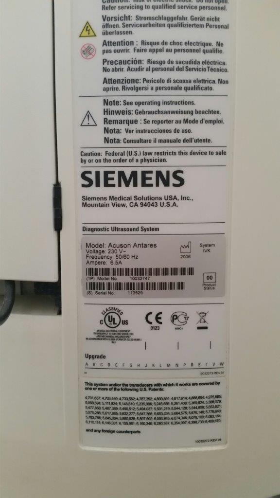Használt Siemens Acuson Antares ultrahang készülék